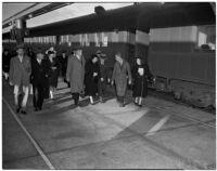 Secretary of Labor Frances Perkins arrives by train, Los Angeles, 1940