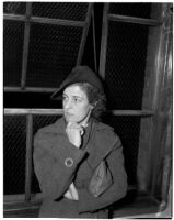 Witness Dora Van Horn waits to testify during the murder trial of Dr. George K. Dazey, Los Angeles, 1940