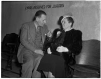 Ruth Reis and Stanley G. Reis wait to testify during the murder trial for Dr. George K. Dazey, Los Angeles, 1940