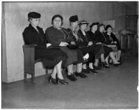 Group of unknown women pictured at the murder trial for Dr. George K. Dazey, accused of murdering his wife, Los Angeles, 1940