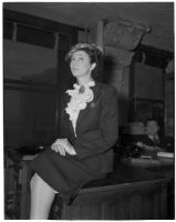 Abbie G. Bowyer in court for a divorce hearing, Los Angeles, 1945