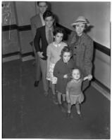 Former film actress Fanchon Royer Gallagher with her five children during a divorce hearing involving her ex-husband, producer John J. Gallagher, Los Angeles, 1939