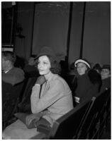 Leone Sousa sits in court waiting to be granted a divorce from her husband George Fleming Houston, Los Angeles, 1940