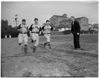 Dean Cromwell coaching new players on the Los Angeles Angels baseball team, Los Angeles, 1940