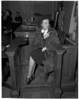 Actress Rosalind Keith in court during her divorce from Willison Clarence Mellor, Los Angeles, 1940