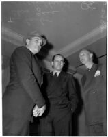 Loyola Marymount head football coach Tom Lieb with team member Walter Christensen and attorney Charles Gass, Los Angeles