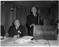 John C. Morse and Jack Campbell during the Newspaper Day event in the Biltmore Hotel ballroom, Los Angeles, 1940