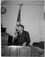 Harlan Bunker, father of murder victim Marilyn Bunker, provides witness testimony in court, Los Angeles, 1940