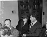 Ethel and Harlan Bunker, parents of murder victim Marilyn Bunker, sit in court during the trial of the accused murderer Donald Rogers, Los Angeles, 1940