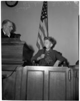 Bradley Bunker, brother of murder victim Marilyn Bunker, provides witness testimony in court, Los Angeles, 1940
