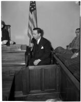 J.W. Buzzell sits in court during his trial for reckless driving, Los Angeles, 1940