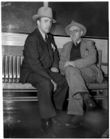 "Nevada prospecter Jack ""Diamondfield"" Davis with Hollywood millionaire sportsman Dr. Ralph Wagner, Los Angeles, 1930s"