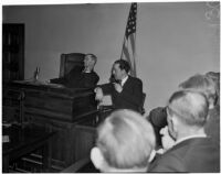 D. E. Kammen on the witness stand during a trial concerning the double traffic crash that killed Charles M. Daneri, Los Angeles, 1940