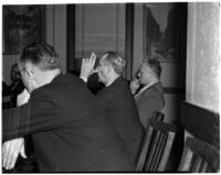 Martin B. Kugler and Louis Swiatek at a hearing on the Department of Water and Power, Los Angeles, 1940