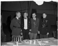 Lieut. Gen. John L. DeWitt posing with unidentified military officers at a banquet at the National Guard Armory, Los Angeles, 1940