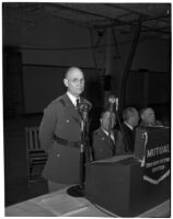 Lieut. Gen. John L. DeWitt speaking at a military banquet at the National Guard Armory, Los Angeles, 1940