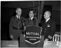 Lieut. Gen. John L. DeWitt, Lieut. Col. Rupert Hughes, and Capt. Claude B. Mayo speaking at a military banquet, Los Angeles, 1940