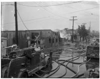 Fire trucks parked outside Dura Steel Products Co., Los Angeles, 1940