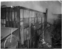 Ruins of a fire that occurred at Dura Steel Products Co., Los Angeles, 1940