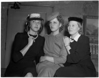 Margaret St. George, Betty Bloomquist and Rosemary Quinn pose together, Los Angeles, 1940