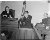 Charles Hardaker at the inquest for his wife, Betty Flay Hardaker, Los Angeles, 1940