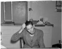 Charles Hardaker after his wife, Betty Flay Hardaker, was arrested for the murder of their daughter, Los Angeles, 1940