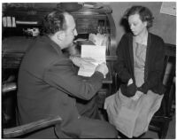 Betty Hardaker, mother convicted of murdering her daughter, questioned by Dr. Paul De River, Los Angeles, 1940