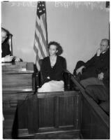 Betty Hardaker on trial for the murder of her daughter Geraldine Hardaker, Los Angeles, 1940