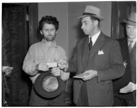 "Cowboy film extra Jerome ""Blackjack"" Ward re-enacts his confrontation with fellow extra Johnny Tyke for Lieutenant W.A. Ellenson, Los Angeles, February 24, 1940"
