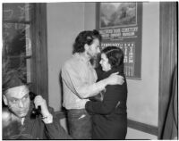 """Cowboy film extra Jerome """"Blackjack"""" Ward with his wife Mickey during a re-enactment of his confrontation with fellow extra Johnny Tyke, Los Angeles, February 24, 1940"""