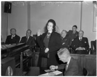 Audrey Burris testifying at a preliminary trial for accused murderer Betty Hardaker, Los Angeles, February 29, 1940