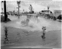 Automobile drives through flooding at McKinley Ave. and Manchester Ave., Los Angeles, February 25, 1940