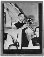Photograph of John Frank Reavis playing the trombone, Los Angeles, May 1940