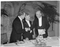 J.L. Van Norman, James L. Beebe and Dr. Thomas Nixon Carver at a banquet at the Ambassador Hotel, Los Angeles, February 22, 1940