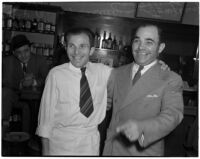 Brothers Benny and Tony Lucey Castellucci reunited after 32 years in Benny's Italian café, Los Angeles, February 28, 1940