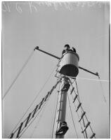 Sailor N.C. Kunkell in the crow's nest of the N.B. Scofield, Los Angeles, May 23, 1940