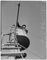Sailor N.C. Kunkell in the crow's nest of the N.B. Scofield, Los Angeles, May 23, 1940