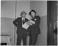 Detective Lieutenants B.G. Anderson and Tommy Bryan investigating the murder of soldier Lawrence G. Marple, Los Angeles, January 4, 1940