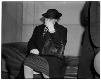 Elizabeth Klomp in court for shoplifting $10.45 of merchandise, Los Angeles, February 19, 1940