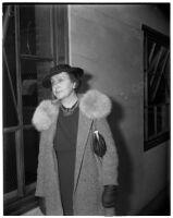 Mrs. Elsie Hinman Bush at divorce hearing against her ex-husband, former Superior Court Judge Guy F. Bush, Los Angeles, March 4, 1940
