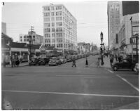 Test of a plan proposed to speed up peak-hour traffic on Wilshire Boulevard, Los Angeles, March 1940