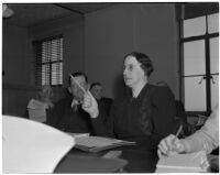 Assemblywoman Jeanette E. Daley, vice-chairman of a legislative committee appointed to investigate the practices and policies of the S.R.A., Los Angeles, March 5, 1940