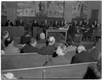 Meeting of a legislative committee appointed to investigate the practices and policies of the S.R.A. held in the State Building, Los Angeles, March 5, 1940