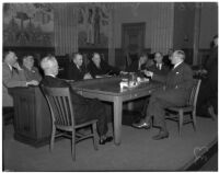 Norman W. Church being questioned by the Senate's race track investigating committee, Los Angeles, March 5, 1940