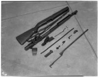 Disassembled version of the U.S. Army's new Garand rifle on display as part of National Defense week, Los Angeles, February 1940