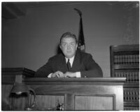 Prince David Mdivani on the witness stand during a legal battle with his ex-wife, actress Mae Murray, Los Angeles, February 27, 1940