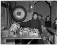 Charlie Chan, fortune teller, in Chinatown, Los Angeles, 1930s