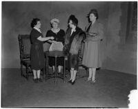 Mrs. A. Julliard Hall, Mrs. Oscar C. Wilcox, Mrs. Priestly A. Horton, and Mrs. Glynn C. Ellsworth, Los Angeles, circa 1940