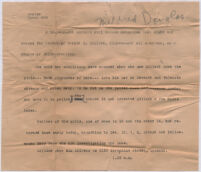 Typewritten note about the possible kidnapping of two teenage girls, Los Angeles, January 1940