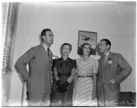 British nobles Lord and Lady Louis Mountbatten with their daughter Patricia and southern California host, Douglas Fairbanks, Jr., Los Angeles, October, 1941